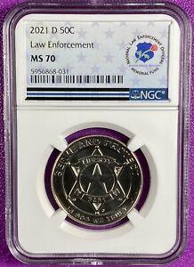 2021 D US National Law Enforcement Comm BU Half Dollar 50C NGC MS70 (031)