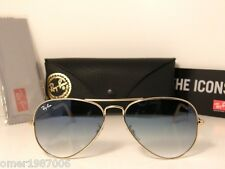 Ray Ban Aviator SUNGLASSES RB 3025 001/32 Gold frame & Grey Blue Gradient 001/3F