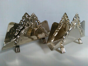 2 Vintage Silver Plated Letter Business Card Holders, made in Hong Kong