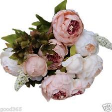 1Bouquet 8 Heads Artificial Peony Silk Flower Leaf Wedding Party Home Decor US