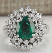 14KT White Gold 100% Natural Green Emerald 1.80Ct EGL Certified Diamond Ring