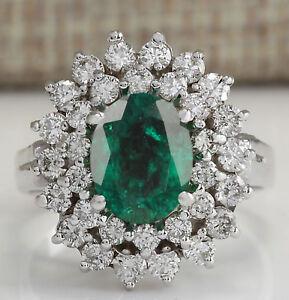 14KT White Gold 100% Natural Green Emerald 1.80Ct IGI Certified Diamond Ring