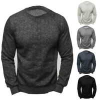 Mens Casual Crew Neck Jumper Long Sleeve Casual Tops Pullover Sweatshirt Top NEW