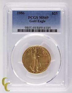 1986 Oro 1/2 Oz. American Eagle Graduado Por Calidad Como MS-69! Gran Barra
