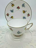 Vintage Crown Staffordshire Fine Bone China Tea Cup & Saucer Rose Pansy W/Stand