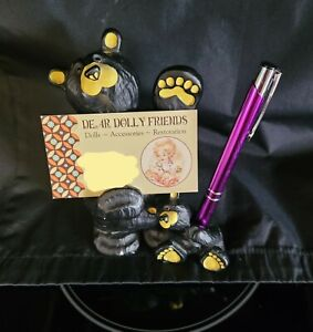 BearFoots Bic & Cubbie Jeff Fleming Big Sky Carver Business Card/Pen Holder Bear