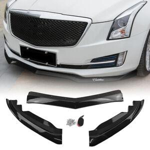 3PCS Front Bumper Lip Spoiler Cover Trim For Cadillac ATS 2015-2018 Carbon Fiber