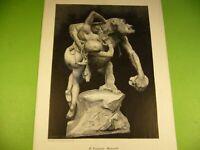 Altes Kunstblatt, Emmanuel Frémiet, Geraubt; Druck Bild Gorilla Affe Frau Akt