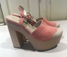 b8935d92979 Ouigal SUEDE Chunky PINK CREAM Strappy Heels ITALY Size 38   8