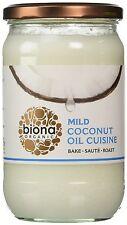 2 x Biona CUCINA organico olio di cocco 610ML medio & inodore