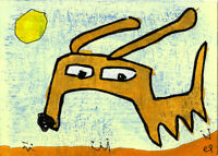 20120306 e9Art ACEO Dog Outsider Folk Art Brut Painting Contemporary Childlike