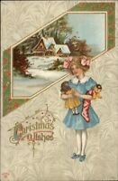 Christmas - Little Girl w/ Stocking & Dolls c1910 Postcard