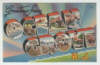 [67065] OLD LARGE LETTER POSTCARD GREETINGS from OCEAN GROVE, NEW JERSEY