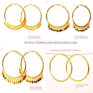 kapa 18CT Gold Earrings Asian Hoop goldplated Large earrings