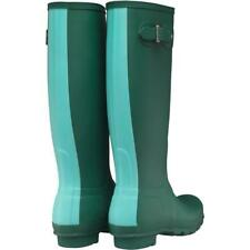 Womens Hunter 6 Original Stripe Winter Snow Wellington Wellies Rainboots Green