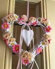 Wicker Heart Wreath Shabby Chic Door Wreath Silk Roses Daisies Cream Pink