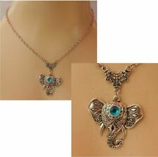 Necklace Elephant Pendant Silver Handmade New Women Fashion Chain Animal Blue