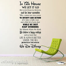 in This House We Do Disney Style Quote Rules Vinyl Wall Art Sticker Mural Kids Black Large - 45x100cm