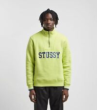 Stussy Lime Green Quarter Zip Sweater Rib Mock Neck Size Medium New