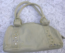 Vintage Women's Handbag Satchel Cotton Khaki Crystal  Studs  Medium Size  11in.