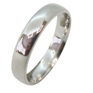 18ct White Gold Solid 4mm Court Shaped Wedding Band