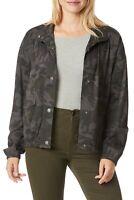 UnionBay Womens Camo Jacket NWT $60 Gray Camouflaged Print Black Cotton Snaps XL