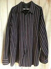 Claiborne Men's BIG 3XL Purple/Black/Gray Stripe Long Sleeve 100% Cotton Shirt