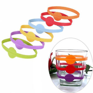6Pcs Silicone Wine Cup Markers Label Identifier Wine Drinking Mug Marking Tag CB
