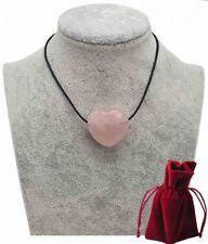 Geschenkset Lederkette mit Rosenquarz Herz Anhänger, 3 cm Edelstein Kette rosa