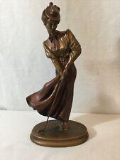 "Vintage Austin Golf Sculpture Elegant Lady Putting Golfing -Bronze Finish 14"""