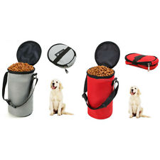 SN_ AM_ 2X 3Kg Pet Dog Food Storage Bag Container Feeder Bowl with Portable Le