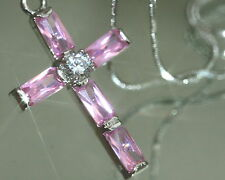 Rectangle Created Pink Sapphire Cross Pendant + Nacklace