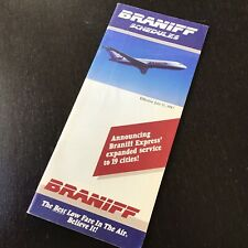 Braniff Airlines Timetable July 15, 1987