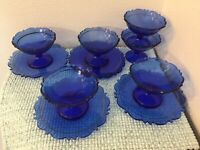 Smith Glass Mt. Pleasant pattern set of 6 sherberts and 4 saucers. Cobalt blue