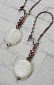 White Shell Crystal Antique Copper Pierced Earrings Handmade New