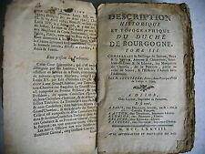 HISTOIRE TOPOGRAPHIE DUCHE BOURGOGNE Courtépée T 3 - 1778 Auxone Autun Seurre