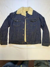 Vintage Mens Sears Roebuck Sherpa Jean Jacket Size 44 Denim Trucker USA Made