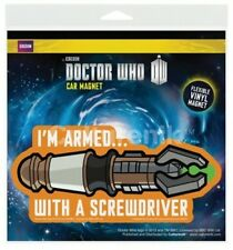 "Doctor Who Armed With a Screwdriver Flexible Vinyl Car Magnet Decal 5"" X 2.5"""