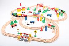 point-kids Holzeisenbahn Set 100 Teile, Zug komplett Set Holz NEU