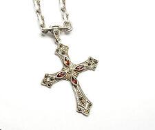 """Vintage 925 Silver Garnet & Marcasite Fancy Gothic Cross & Chain 29.4g 20"""""""