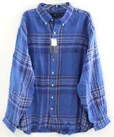 Polo Ralph Lauren Big & Tall Mens Blue Plaid Linen Button-Front Shirt NWT 2XLT