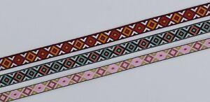 12mm Colourful Jacquard Geometric Ribbon Trim per metre