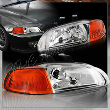 For Honda Civic 2/3DR 1-Piece Chrome Housing Headlights W/Amber Reflector Lamps
