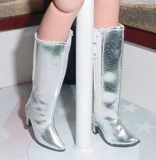 DOLL Shoes, Custom 50mm zip knee boots for Ellowyne - Metallic Silver