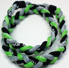 "NEW! BASEBALL Titanium TORNADO Sport Necklaces 20"" Neon Green Gray Grey Black"