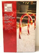 "10"" Candy Cane Outdoor Pathway Stakes Christmas Lights 8 Pack"