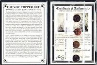 4 VOC Dutch East Indies Co Copper Duits Coins,1700's, Certificate,Story & Album