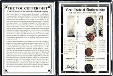 4 VOC Dutch East Indies Co Copper Duits Coins,1700's, Certificate,Story & Album