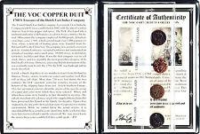 4 VOC Dutch East Indies Co Copper Duits Coins,1700's & Certificate & Album