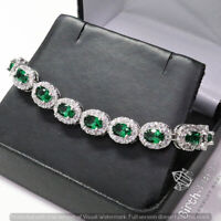 Antique Vintage Oval Cut Green Emerald Bracelet Women Wedding Jewelry Gift
